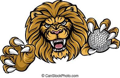 lekkoatletyka, lew, golfowa piłka, maskotka