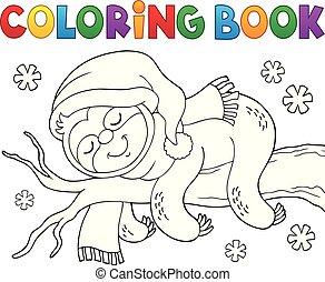 lenistwo, temat, zima, kolorowanie, 1, książka