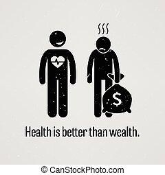 lepszy, zdrowie, niż, bogactwo