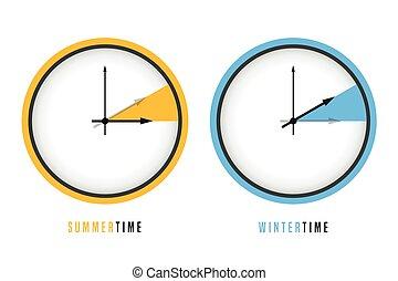 letni czas, zegar, zima, światło dzienne, zbawczy