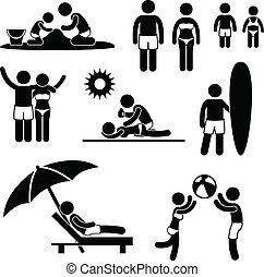 letnie święto, plaża, rodzina, wolny czas