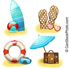 letnie święto, urlop, zbiór, przybory
