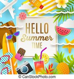 letnie zwolnienie, ilustracja, ferie