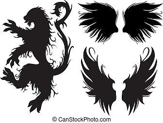 lew, wektor, gotyk, skrzydełka