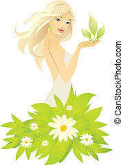 liść, dziewczyna, zielony, piękny