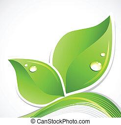 liść, ilustracja, droplets., woda, wektor, zielony, sztuka