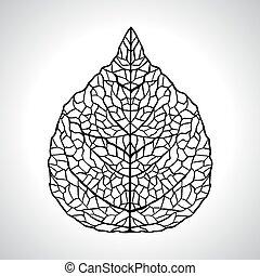 liść, isolated., makro, ilustracja, wektor, czarnoskóry, kasownik