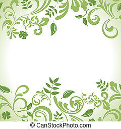 liść, komplet, chorągiew, zielony