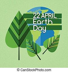liść, kula, zielony, świat, obsypać dzień