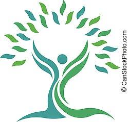 liść, natura, ludzie., drzewo, wektor, zdrowie, logo, symbol