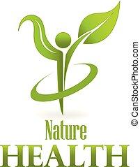 liść, natura, wektor, zielony, sanitarna troska, logo, ikona