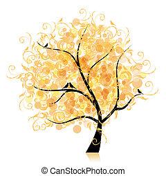 liść, sztuka, drzewo, piękny, złoty