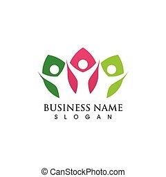 liść, wektor, wizerunek, symbol, ludzie, logo