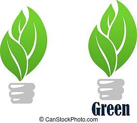 liście, bulwa, zielone światło