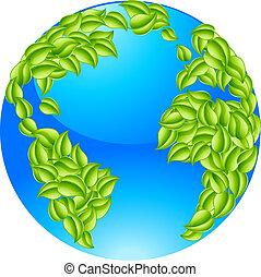 liście, conc, zielona ziemia, światowa kula