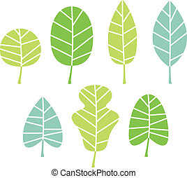 liście, drzewo, odizolowany, zbiór, zieleń biała