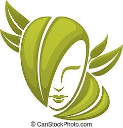 liście, głowa, kobieta, zielony