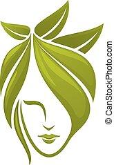 liście, kobieta, zielona twarz
