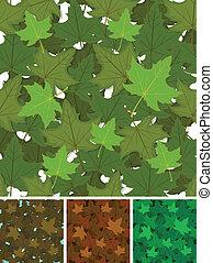 liście, komplet, seamless, tło, klon