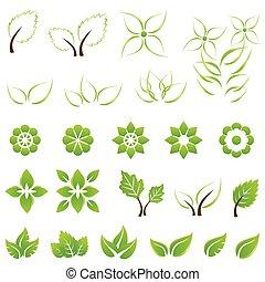 liście, komplet, zielony, kwiaty