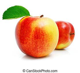 liście, owoc, zielone jabłko, czerwony
