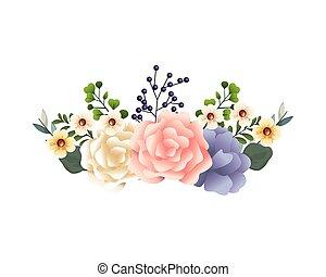 liście, piękny, ozdoba, kwiaty