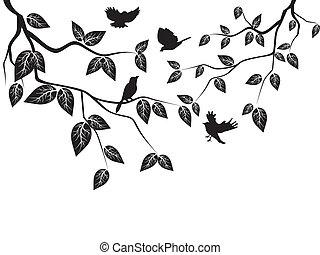 liście, ptaszki