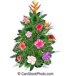 liście, szablon, tropikalny, dłoń, partia, boże narodzenie., bilety, snowflakes., zaproszenia