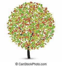liście, wektor, drzewo, biały