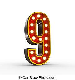 liczba, światła, jarzący się, dziewięć, retro, wystawa