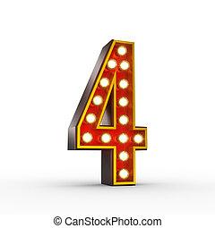 liczba czterej, światła, jarzący się, retro, wystawa