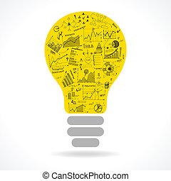 lightbulb, doodle, idea, wykresy, infographics, ikona