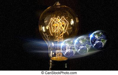 lightbulb, planetować ziemię