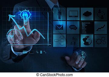 lightbulb, pojęcie, pociąga, handlowy, rozłączenie, ręka, komputer, biznesmen, interfejs, nowy