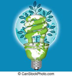lightbulb, zbawczy, eco, energia, światowa kula