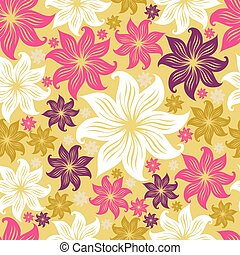 lilly, próbka, seamless, kwiatowy