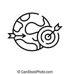 linearny, znak, szkic, kreska, globalny, ikona, gol, ilustracja, symbol., wektor, pojęcie