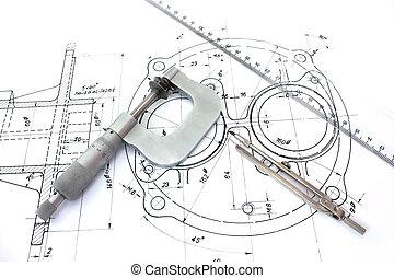 linia, blueprint., mikrometr, busola