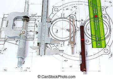 linia, mechaniczny, mikrometr, szablon, busola, suwmiarka, ołówek, blueprint.
