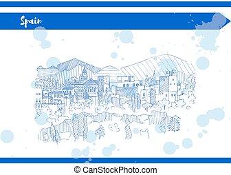 liniowiec, błękitna góra, rys, hiszpania, wektor, zamek