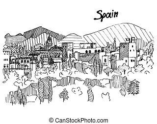 liniowiec, góra, rys, hiszpania, wektor, zamek