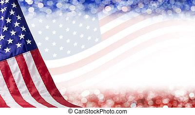 lipiec, bokeh, niezależność, kopia, amerykanka, inny, tło, dzień, 4, przestrzeń, bandera, celebrowanie
