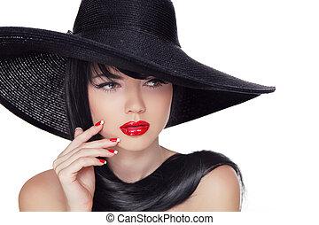 lipstick., wzór, styl, fason, piękno, paznokcie, manicured, odizolowany, tło., czarnoskóry, hat., biały, dziewczyna, czerwony, moda