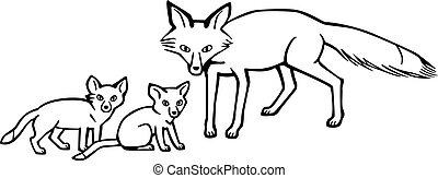 lis, szczeniaki, macierz