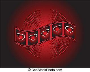 list miłosny, czerwone tło, pas, serca, srebro, film