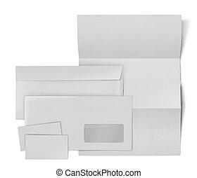 listek, handlowy, koperta, set., papier, tło, biały, stacjonarny, karta