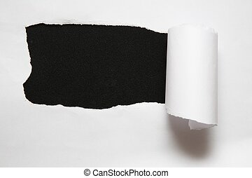 listek, porwany, przeciw, papier, czarne tło