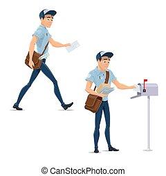 listonosz, ikony, praca, doręczenie, wektor, poczta, poczta