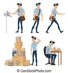 listonosz, służba, dostarczająca poczta, pocztowy, ikona