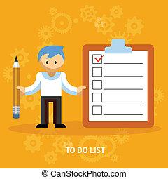 litera, checklist, rysunek, biznesmen
